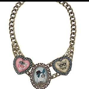 Betsey Johnson Cameo Critters Statement Necklace